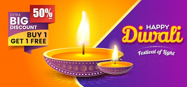 Diwali festival sale banner template