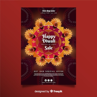 Diwali festival sale flyer template