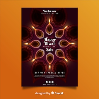 Diwali festival sale poster template