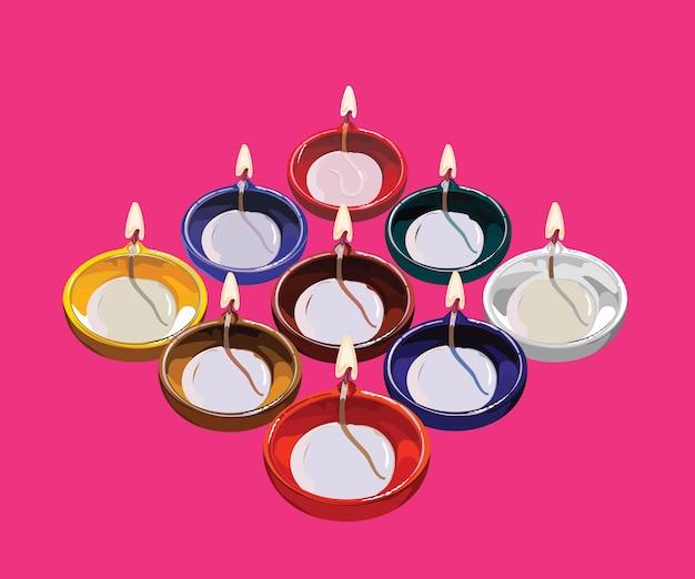 Diwali greeting card using traditional illuminated oil clay lamp or diya