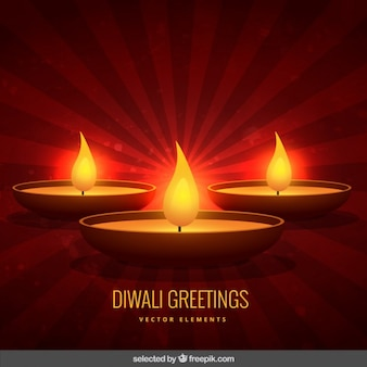 Diwali greeting with red background