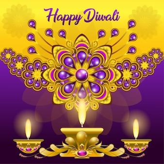 Приветствие дивали с ярко-фиолетовым золотым орнаментом и лампами