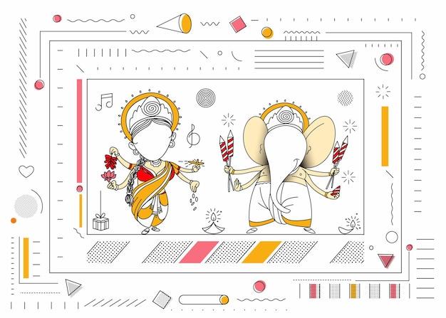 디왈리 힌두교 축제 인사말 카드, 손으로 그린 라인 아트 벡터 삽화.