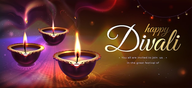 Diwali holiday poster with realistic glowing diya candles. traditional hindu festival with floral mandala on blurred dark background. happy indian religious celebration with oil lamps, rangoli design.