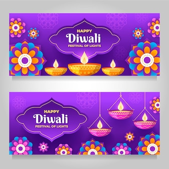 Diwali horizontal banners with flame