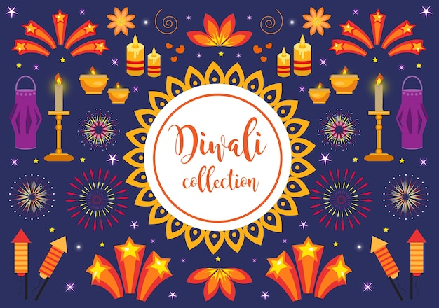 Diwali icon set, holiday lights in india. collection of design elements with candles, fireworks, paper lantern, stars, rockets  illustration
