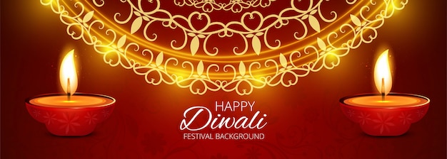 Diwali indian festival of lights banner colorful
