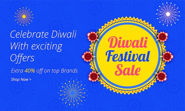 Diwali (indian festival of lights) sale banner design with an attractive 40% discount offer and coupon code to grab offer.