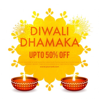 Diwali (indian festival of lights) sale banner design with illuminated oil litlamps and 50% discount offers.