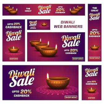 Diwali (indian festival of lights) sale banner or post collection with  attractive discount offers .