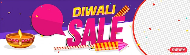 Diwali (indian festival of lights) sale, web banner with illuminated lit lamp, firecrackers and space for products images.