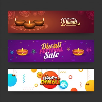 Diwali (indian festival of lights) web banners collection with illuminated litlamps, and discount offers.