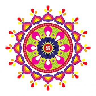 Diwali Indian Festival Of Lights Concept With Colorful Rangoli Floral Design