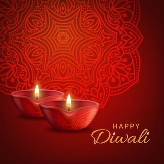 光のポスターのディワリインドの祭り。ヒンドゥー教のディーパバリの休日の装飾、燃えるろうそく、赤い背景の伝統的な曼荼羅。リアルな3dランプでハッピーディワリのグリーティングカードのデザイン
