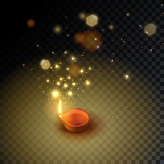 Diwali. indian festival oil burning lamps, bokeh and light. isolated candle icon. vector stock illustration