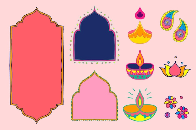 Diwali indian rangoli design elements illustration set