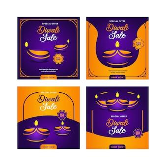 Diwali instagram post design template bundle