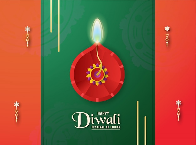 Diwali is festival of lights of hindu, indian.
