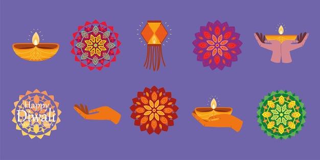 Diwali lamps and mandala