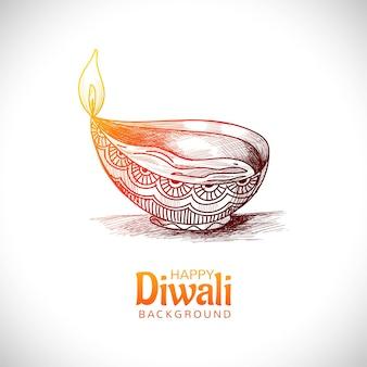 Diwali oil lamp festival hand draw sketch card design