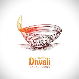 Disegno di carta di schizzo di tiraggio della mano di festival della lampada a olio di diwali