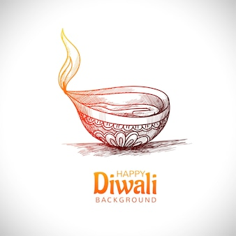 Diwali oil lamp festival hand draw sketch card design