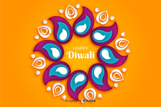 Diwali orange background in paper style