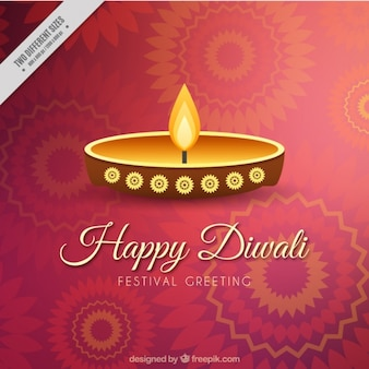 Diwali ornamental background with candle