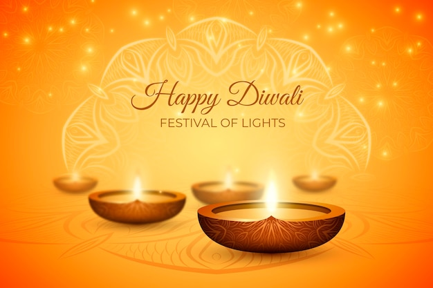Diwali realistic background with candles