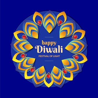 Diwali religious event in paper style