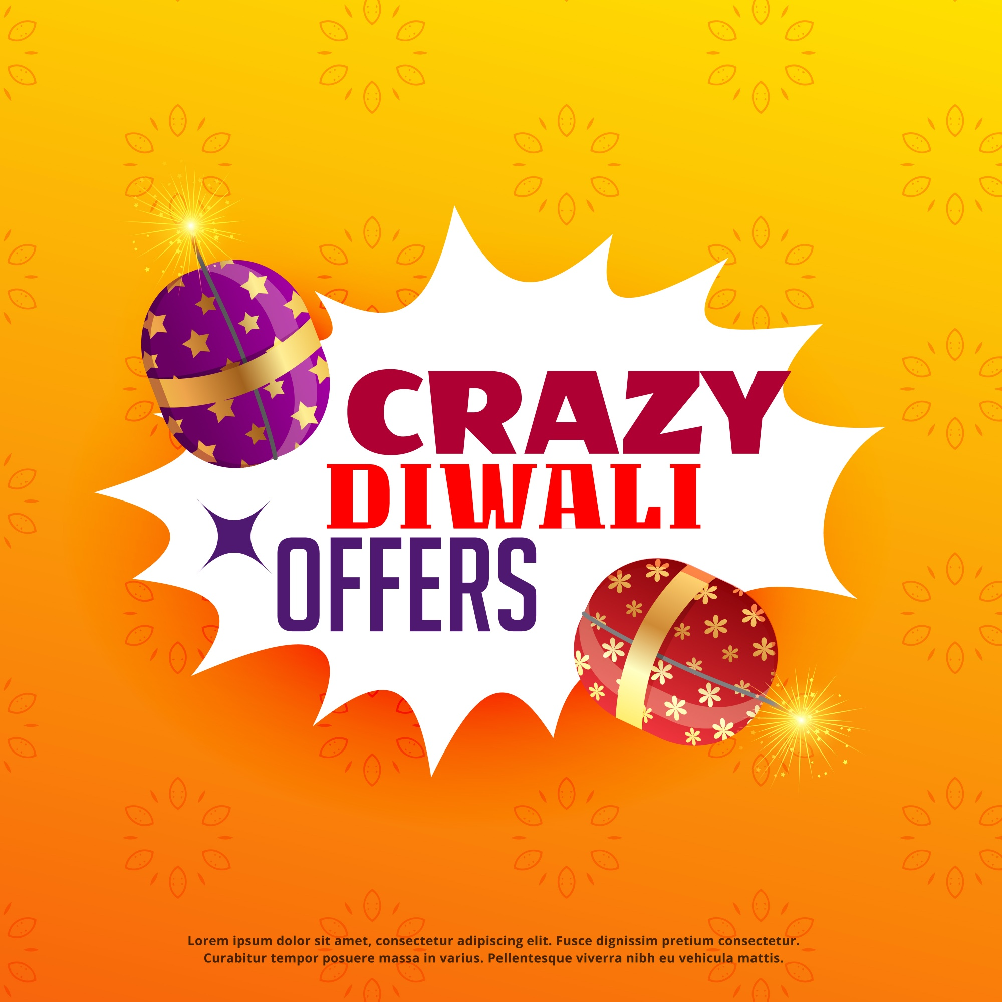 Diwali sale and offers poster design with festival crackers