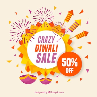 Diwali sale background in flat design