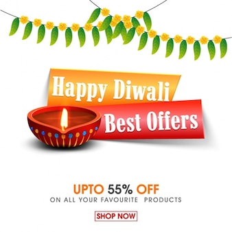Diwali sale background with candle and garlands