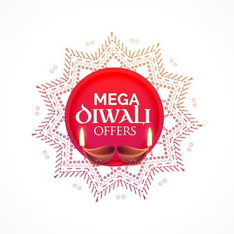 Diwali sale background with diya and decorative design