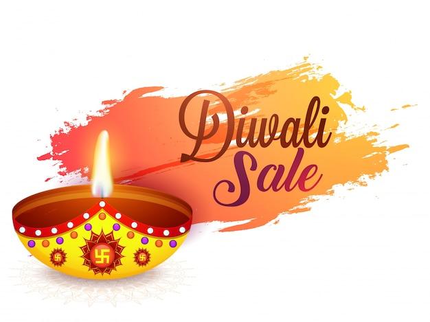 Diwali sale background with illuminated oil lamp (diya).