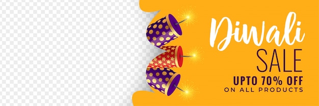 Diwali sale banner with crackers