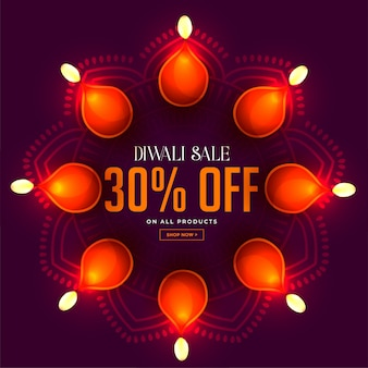 Diwali sale banner with glowing diya lamps decoration