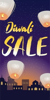 Diwali sale colorful vertical vector banner with lighting text, night indian city view and flying sky lanterns.