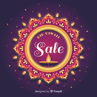 Diwali sale concept in flat design