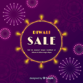 Diwali sale concept in flat design