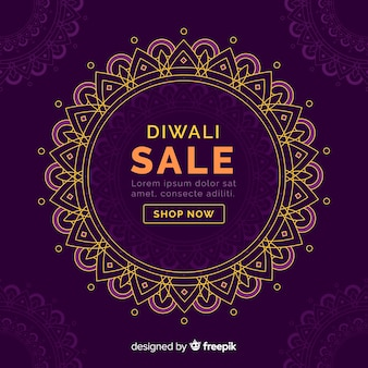 Diwali sale concept with flat design background