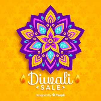 Diwali sale concept with flat design