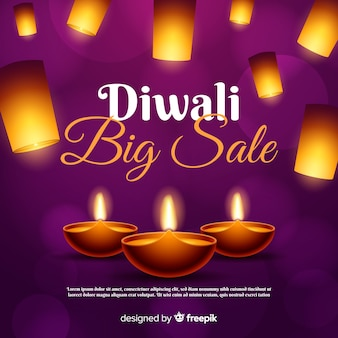 Diwali sale concept with realistic background