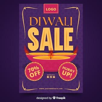 Diwali sale flat design for flyer template