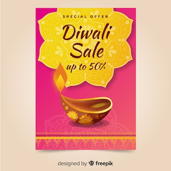 Diwali sale hand drawn poster template