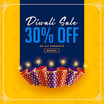 Diwali sale and offer crackers celebration template