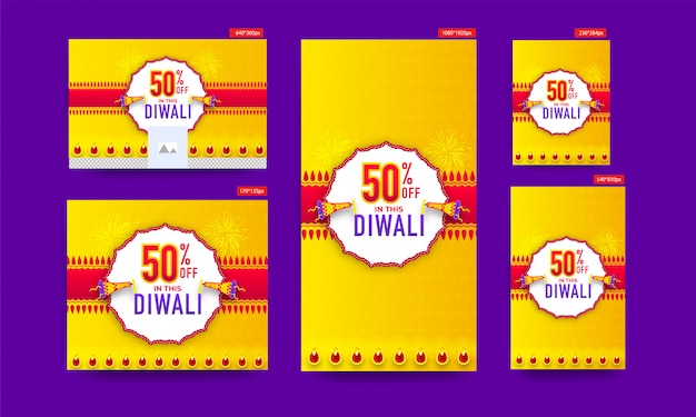 Diwali sale poster and template  collection with 50% discount offer and megaphone on yellow and red .