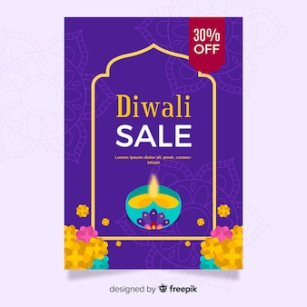 Diwali sale poster template in flat design