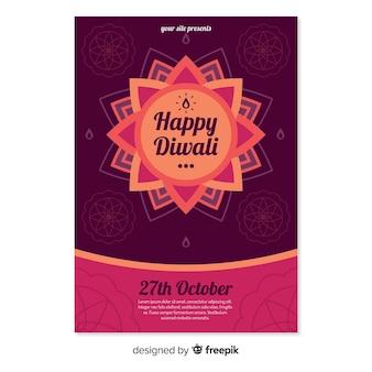 Diwali sale poster template in flat design