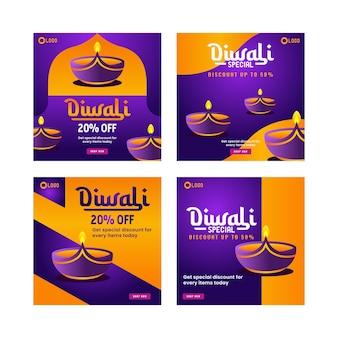 Diwali special social media post design template promotion